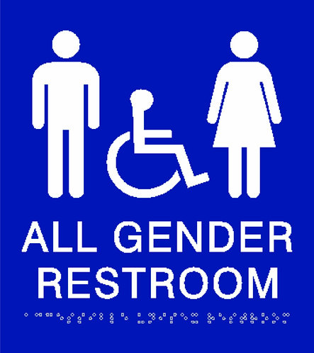 """Accessible All Gender Wall Sign 8""""x9"""" w/Icons"""