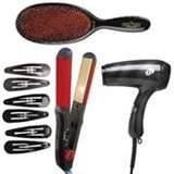 Wig styling supplies brush, clips, flatiron, hair dryer