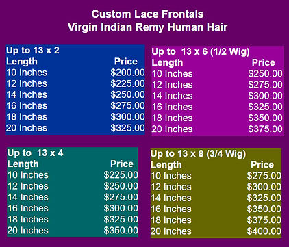Price List Lace Frontals