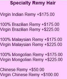 Specialty hair pricing