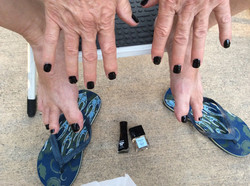 Dark Polish on Fingers & Toes