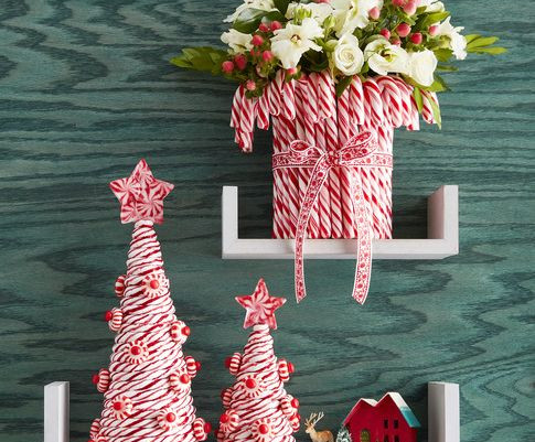 DIY Candy Cane Trees and Vase