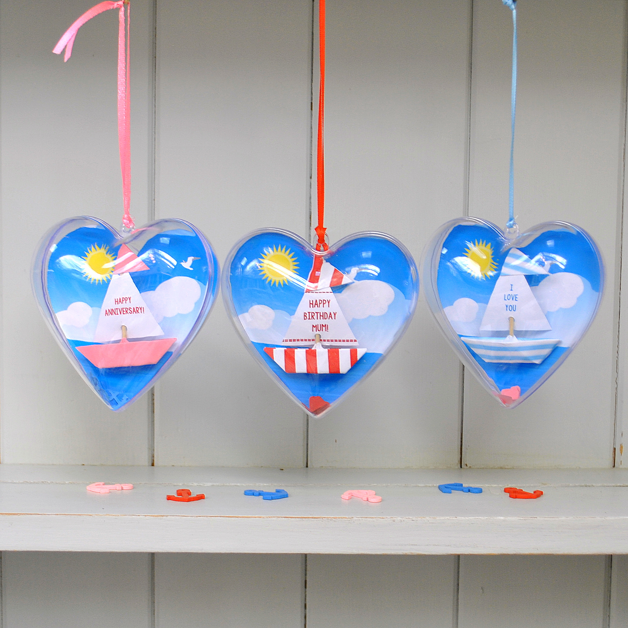 Hanging Boat hearts