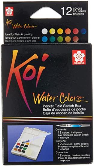 12 Color Koi Watercolor Pocket Field Sketch Box