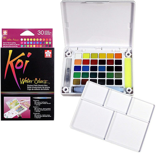 30 Color Koi Watercolor Pocket Field Sketch Box