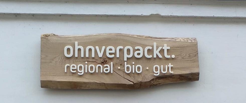 Schild für die Außenfassade von ohnverpackt