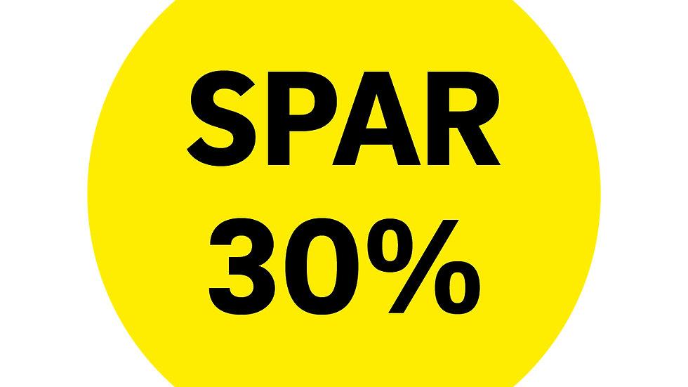 """""""Spar 30% """"  Rund klæber til vindue 50 cm Ø"""