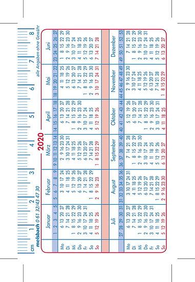 Scheckkartenkalender - Individuell erstellbar