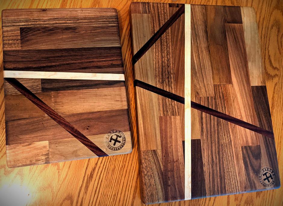 Walnut Boards with Sapele & Maple inlay ($110)