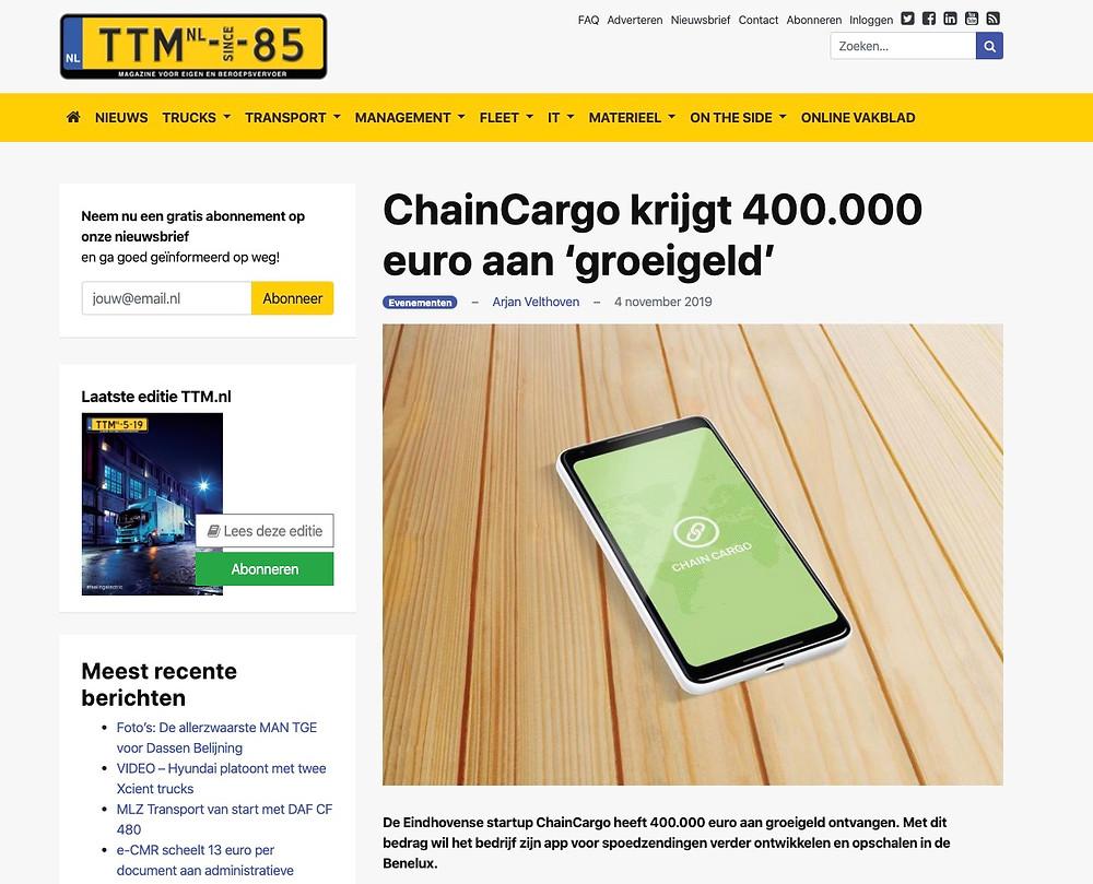ChainCargo krijgt 400.000 euro aan groeigeld