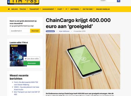 Investering in ChainCargo niet onopgemerkt