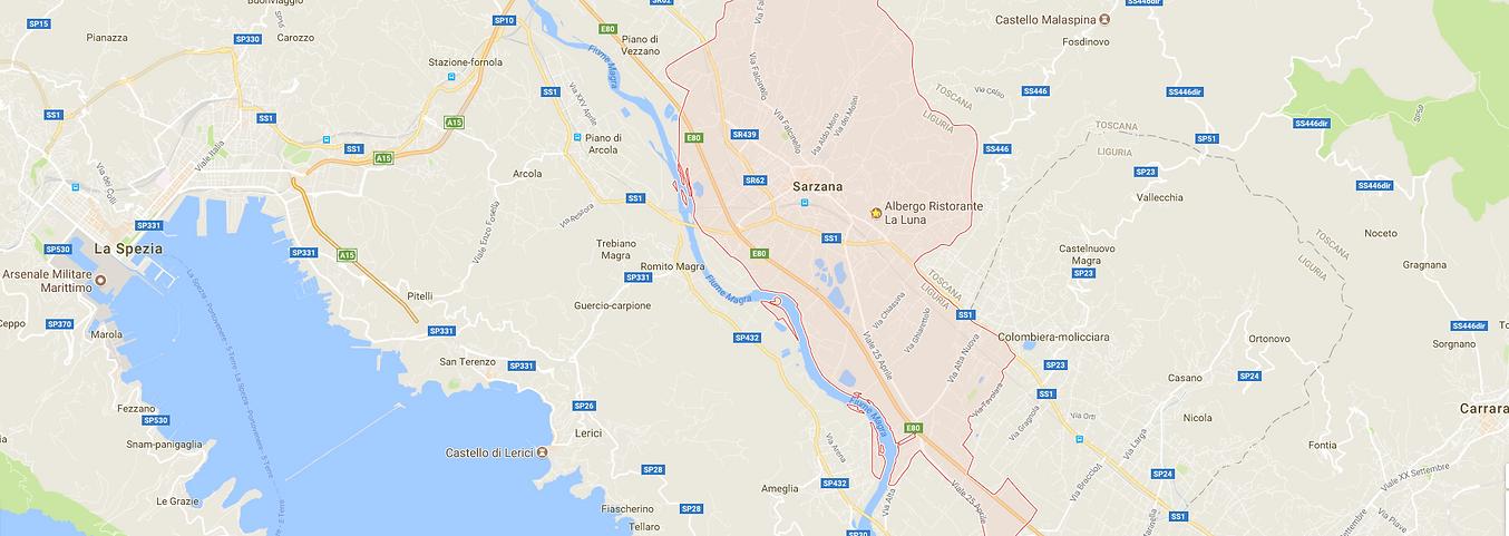 Mappa di Sarzana e Golfo di La Spezia
