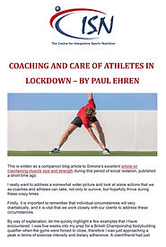 Coaching and care of athletes in lockdow