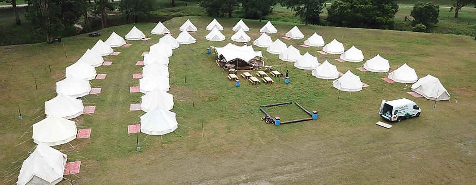 glamping setup for events bell tents sydney