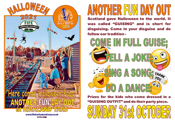 Fife Heritage Railway Halloween and Running Day Sunday 31 October 2021