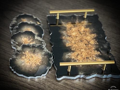 Resin gold Tray &  Coaster set