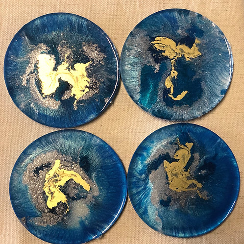 Blue gold resin coasters
