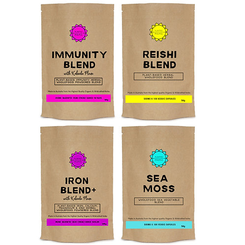 Skin+Gut+Immune Bundle: Immunity Blend, Reishi Blend, Iron Blend+ and Sea Moss