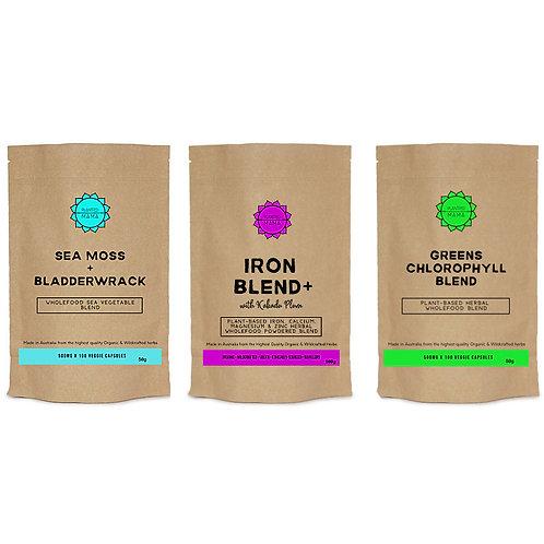 Detox Bundle: Sea Moss & Bladderwrack, Iron Blend+ and Greens Chlorophyll Blend