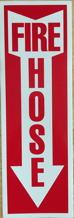#375 12x4 Vinyl Sticker-Fire Hose arrow