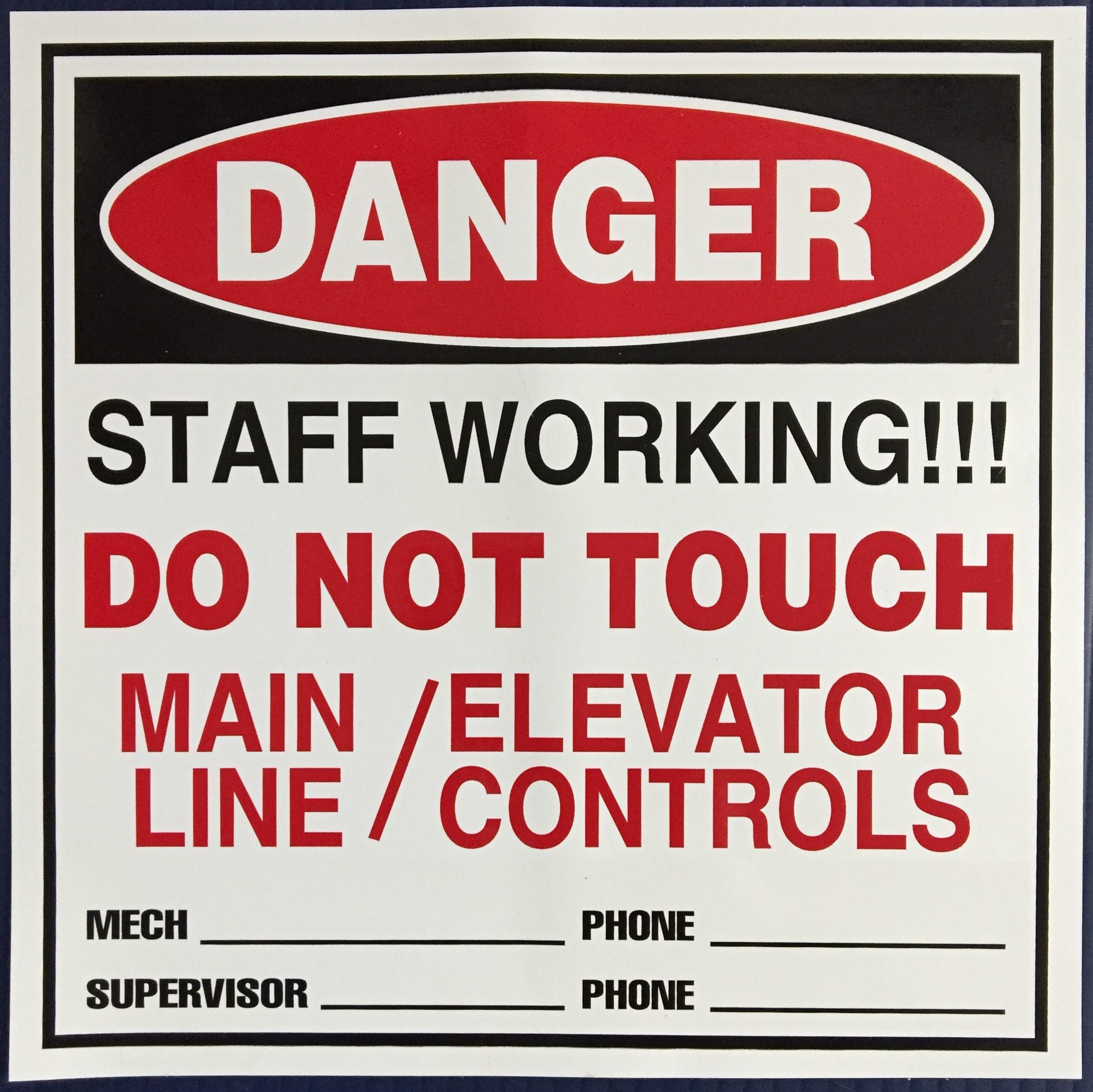 #319  8x8 Vinyl Magnetic-Danger Elevator