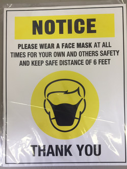 CV919 NOTICE WEAR A MASK AT ALL TIMES