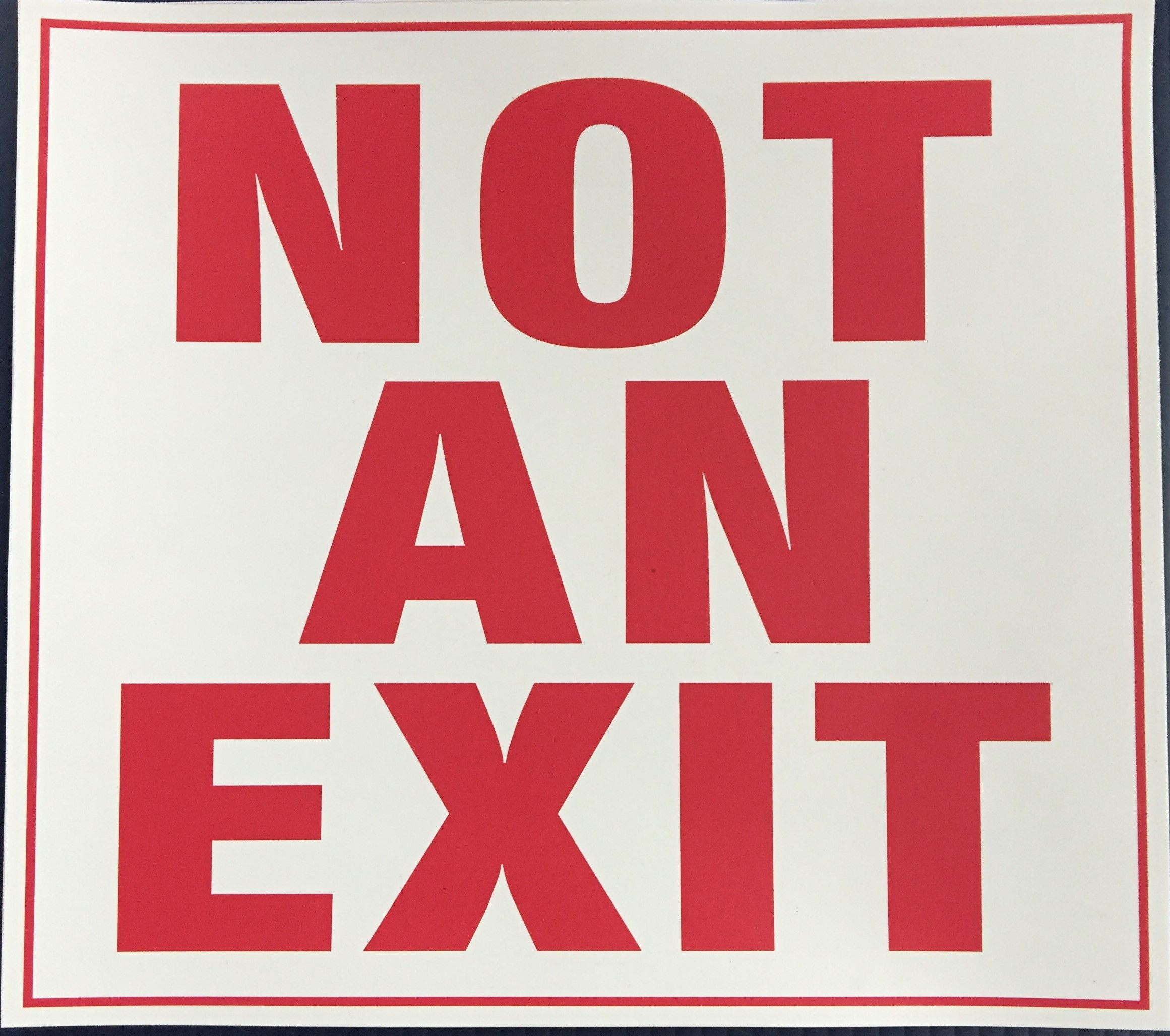#354     10x9 Vinyl Sticker-Not An Exit.