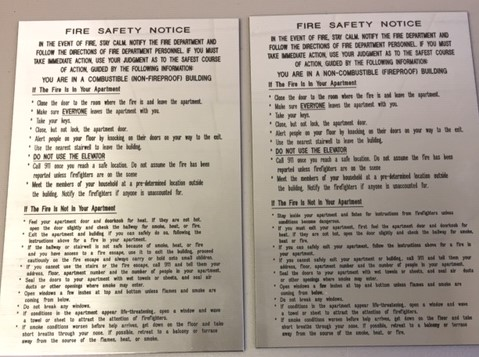 Fire Safety Notice Engraved 8.5x5.5
