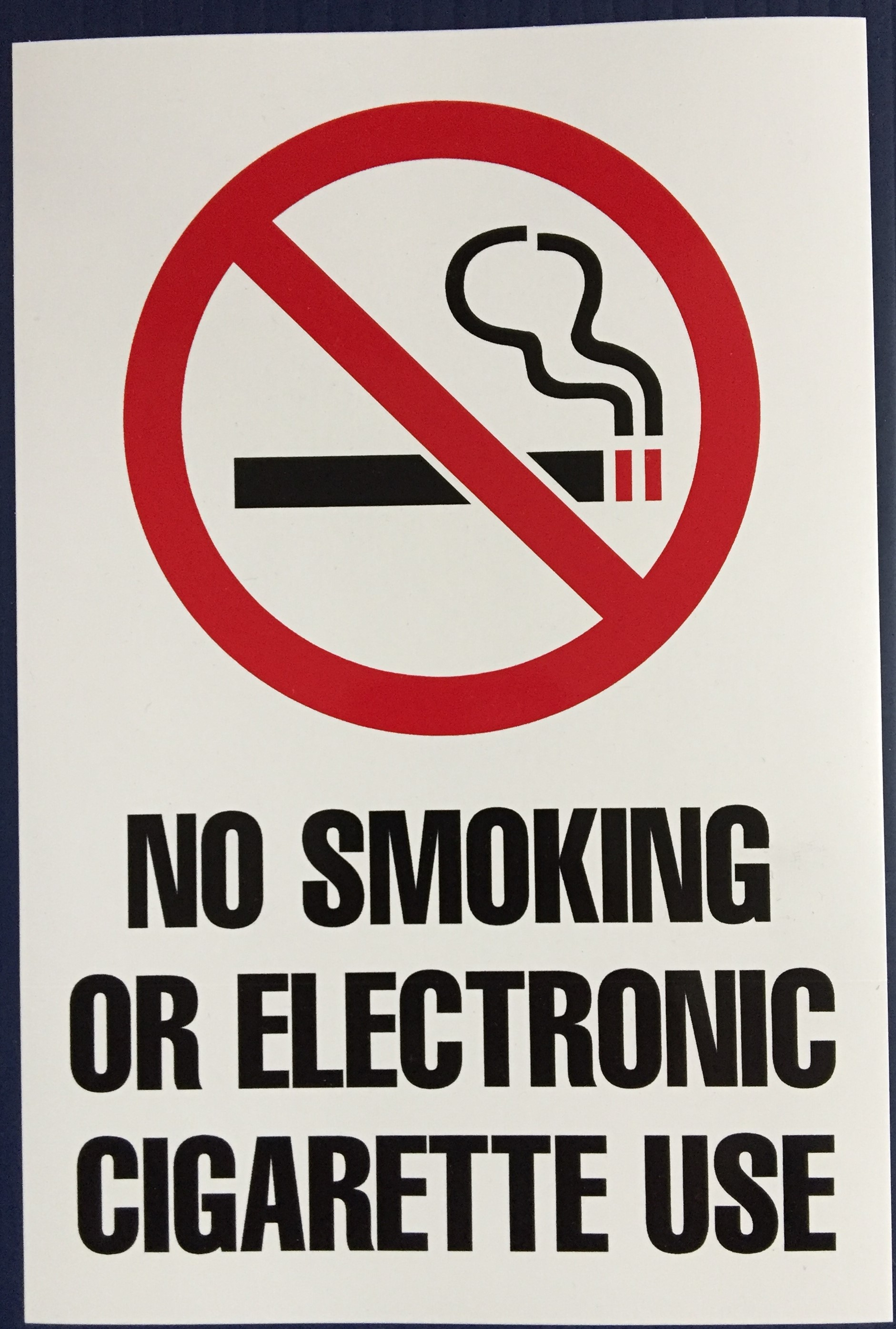 #347  6x9 Vinyl Sticker-No Smoking or E