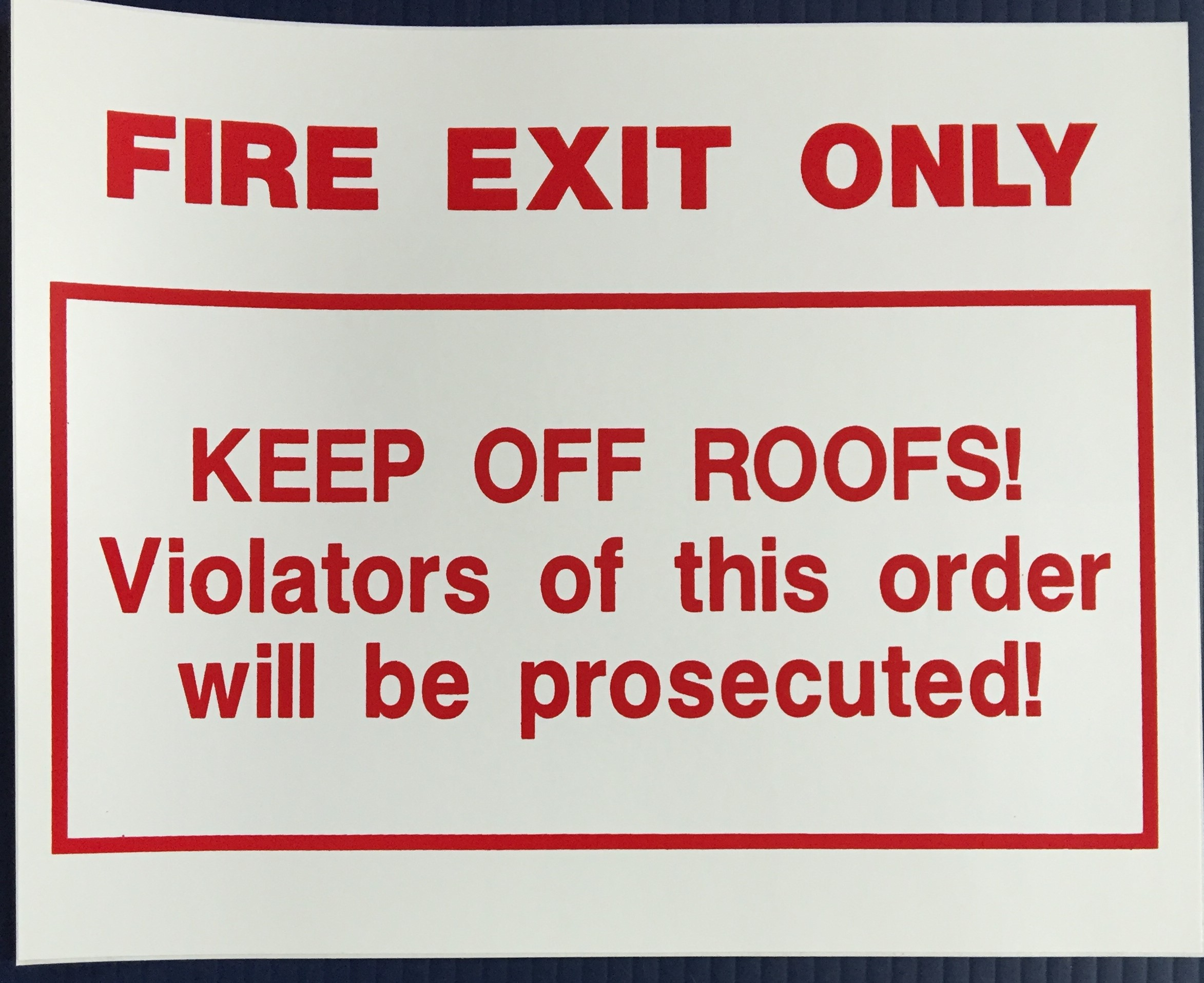 #CL204  10x8 Vinyl Sticker-Fire Exit Onl