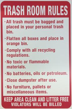 TRASH ROOM RULES