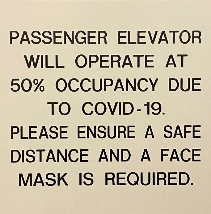 #CV938-Engraved Plastic Elevator Sign 8x