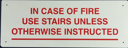 #1020  12x5 .020 Alum.-In Case of Fire..