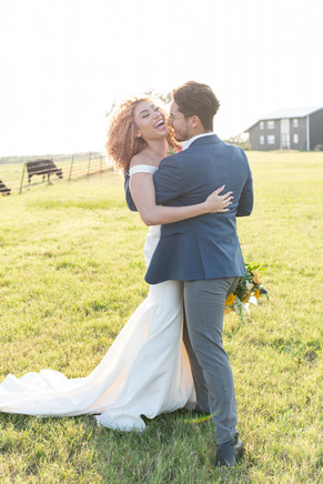 Wedded Couple Laughing in Farmland