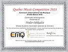 Quebec Music Competition 2018 Certificate ofrecognitin
