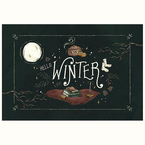 Hello Winter postcard