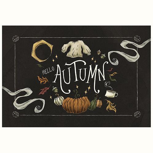 Hello Autumn postcard