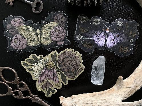 Floral Moth sticker 3-pack