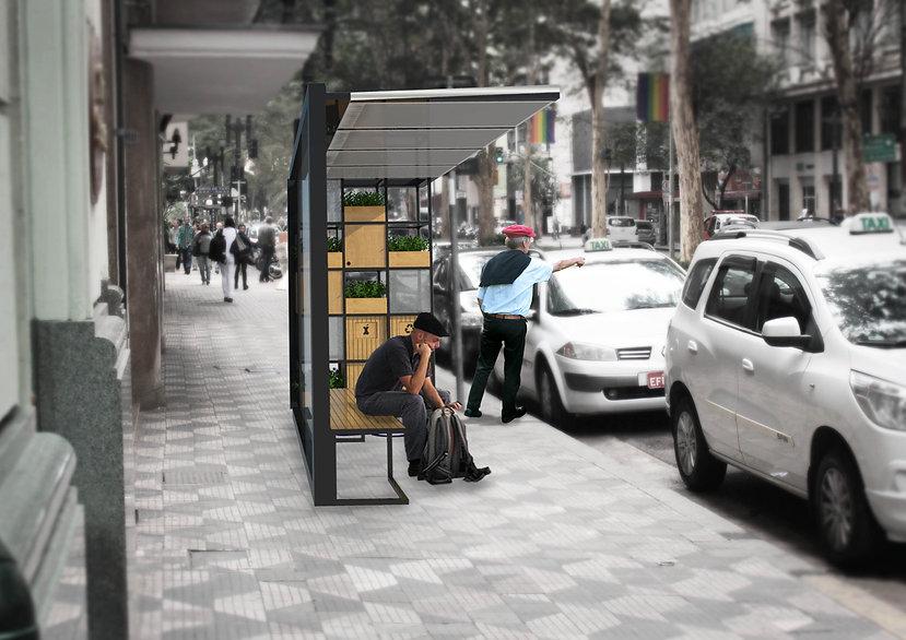 Mobiliário urbano São Paulo Design Ponto de Táxi Estrutura Metálica Madeira Arquitetura Projeto