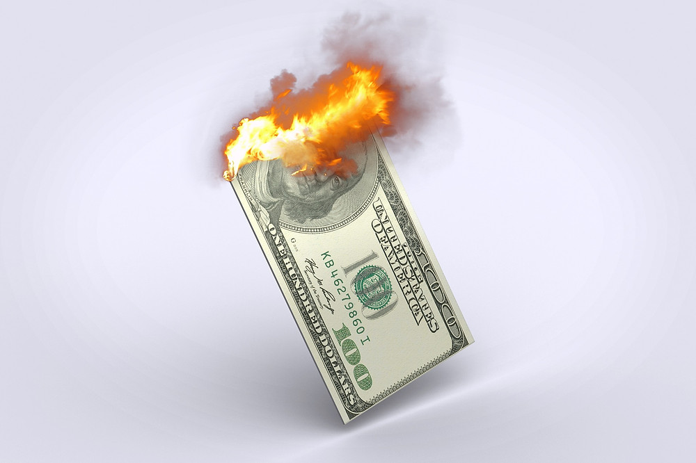 inflation, burning money, losing value