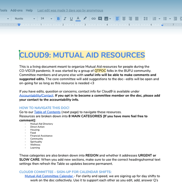 CLOUD9: MUTUAL AID RESOURCES