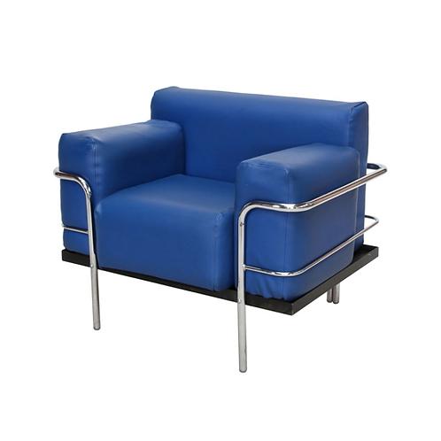 Corbousier Leather Armchair Blue