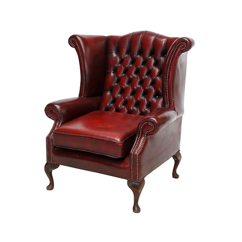Chesterfield Leather Wing Back Chair Burgundy