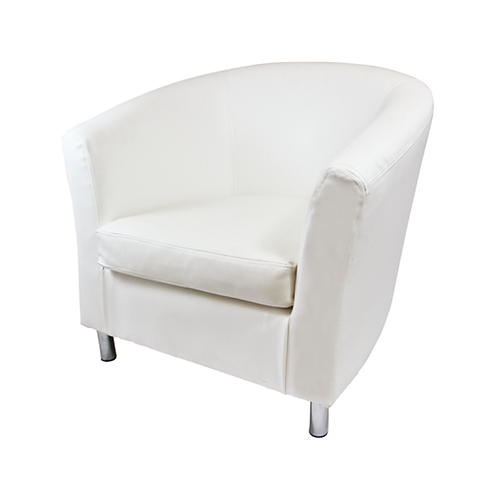 Swedish Tub Leather Chair White
