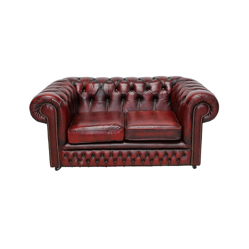 Chesterfield Leather 2 Seater Sofa Burgundy