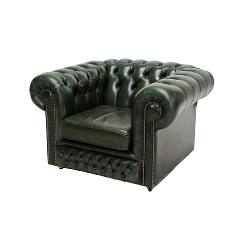 Chesterfield Leather Armchair Green