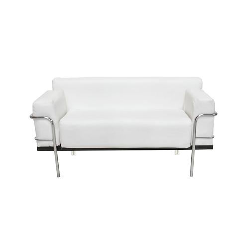 Corbousier Leather Sofa White