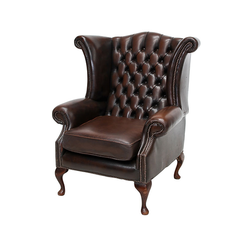 Chesterfield Leather Wing Back Chair Brown