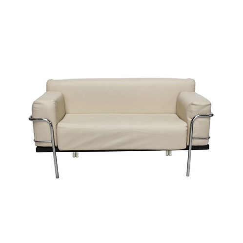 Corbousier Leather Sofa Cream