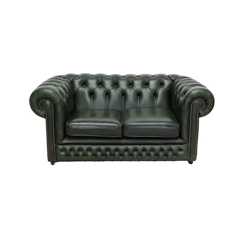 Chesterfield Leather 2 Seater Sofa Green